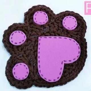 Portavasos Huellitas a Crochet
