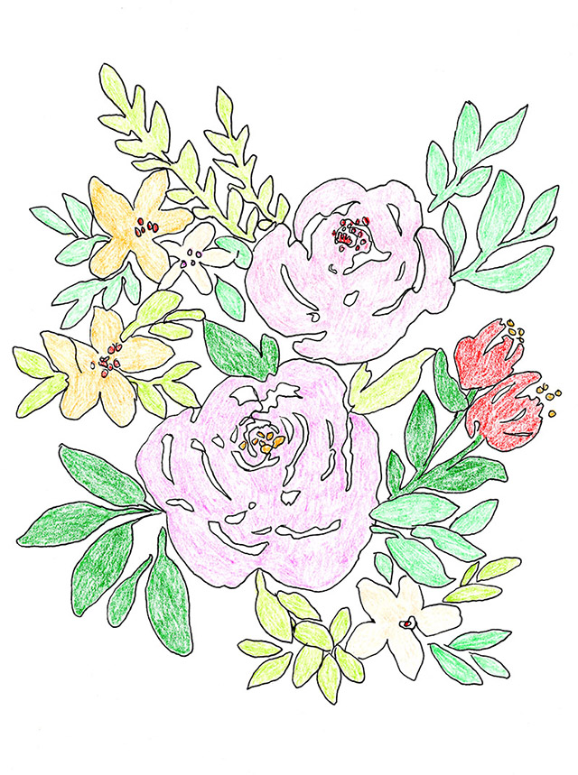Free Flowers Printable Coloring Page from Elise Engh Studios