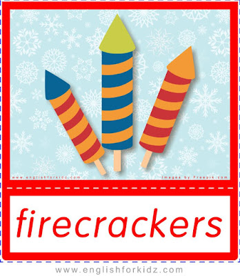 firecrackers, flashcards about Christmas