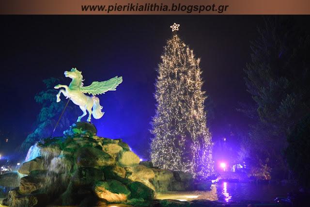 Το άναμμα του Χριστουγεννιάτικου δέντρου στο Πάρκο Χρωμάτων Κατερίνης. (ΦΩΤΟ)