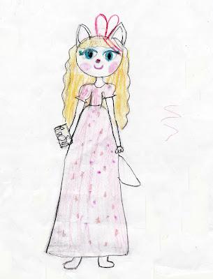 кошечка - модница Анжела, детский рисунок