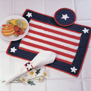 crochet fourth of July placemats