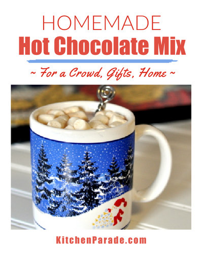 Hot Chocolate Mix ♥ KitchenParade.com, how to make it from scratch, for a crowd, for gifts, for home.
