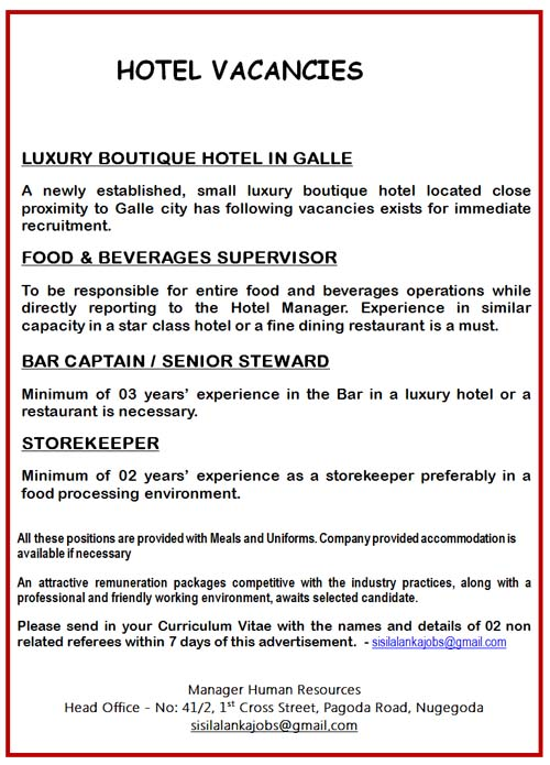 Vacancies For Food Amp Beverages Supervisor Bar Captain