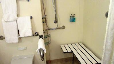 Handicapped accessible balcony cabin shower bench on Princess Cruises Royal Princess cruise ship