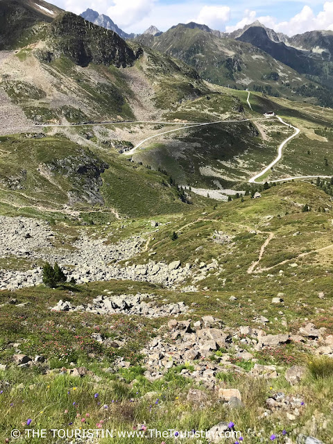 Winding road through the mountains near Kühtai in Austria