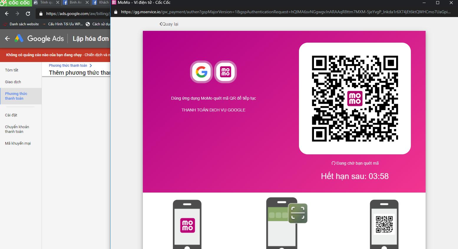 Hướng dẫn thanh toán google ads bằng ví Momo