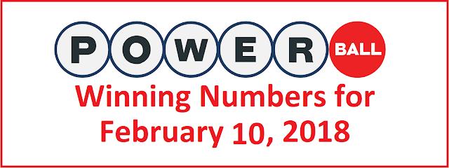 Powerball Winning Numbers for Saturday,10 February 2018