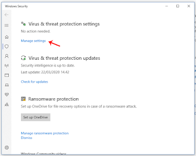 Menu Virus and Protection Settings untuk Mengatur Windows Defender
