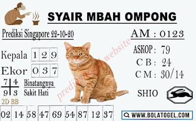 Kode syair Singapore Kamis 22 Oktober 2020 189
