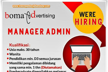 Lowongan Kerja Manager Admin Boma Advertising Bandung