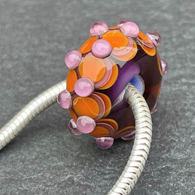 Handmade lampwork glass big hole bead by Laura Sparling