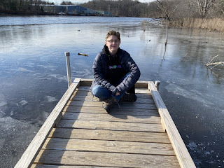 Abby on a boardwalk along the Assabet River in Acton, MA.
