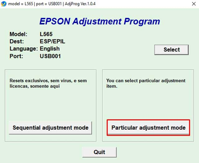 Particular adjustment mode epson l565