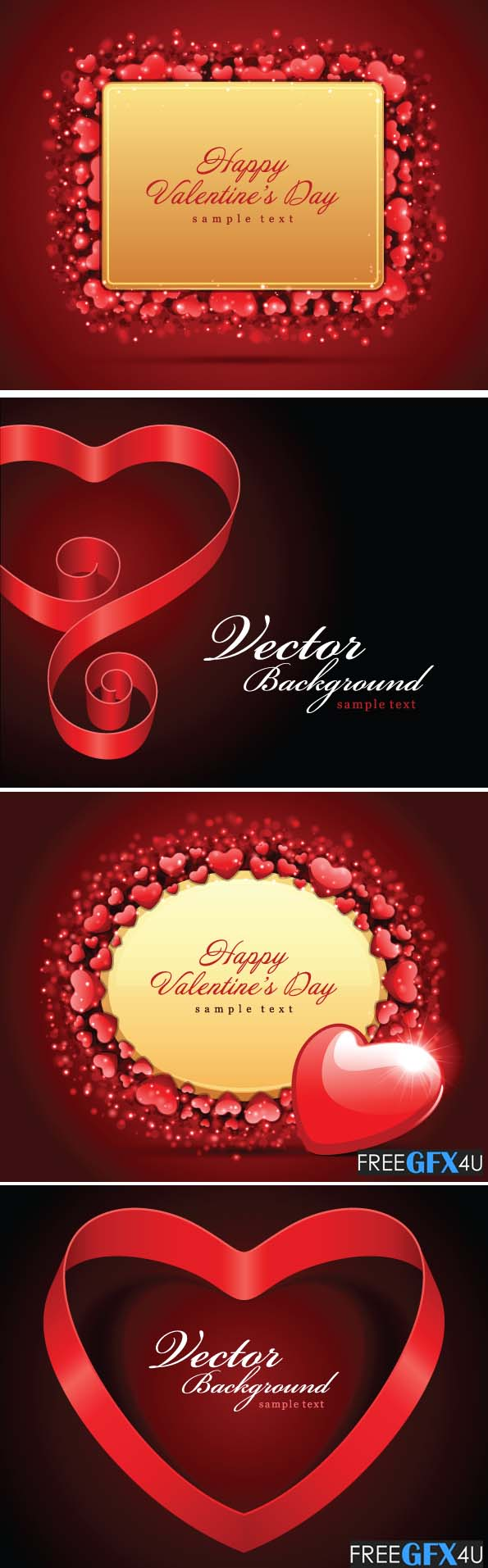Vector Romantic Valentine's Day Heart shaped Cards