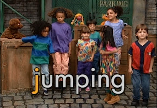 The kids show to Baby Bear the letter j with jumping. Sesame Street Do the Alphabet