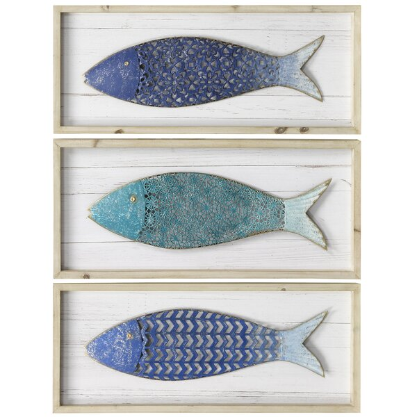 3 Piece School of Metal Fish Wood Panels Wall Décor Set