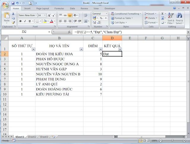 Hướng dẫn dùng hàm IF trong Excel 2007