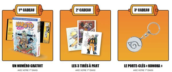 Nouvelle collection Naruto en grand format: bonus et cadeaux des trois premiers volumes