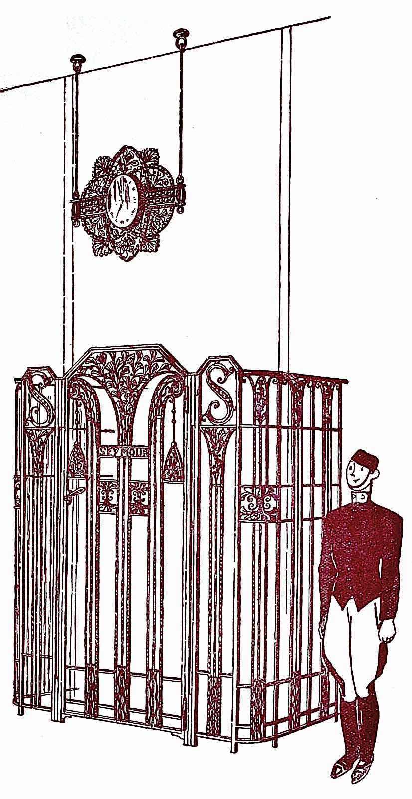 a 1926 elevator operator in uniform, illustrated