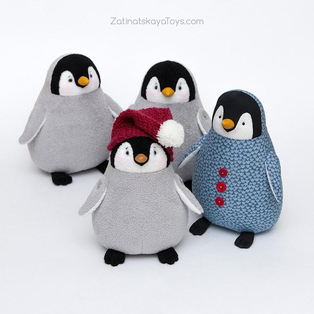 мягкие игрушки пингвины из х/б ткани и флиса сделаны своими руками по выкройке Затинацкой Натальи