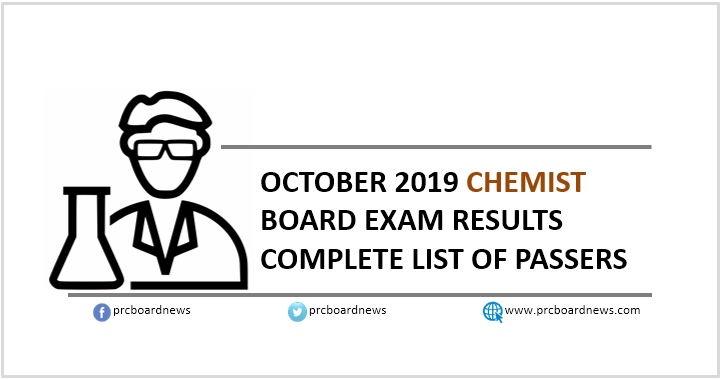 RESULT: October 2019 Chemist board exam list of passers