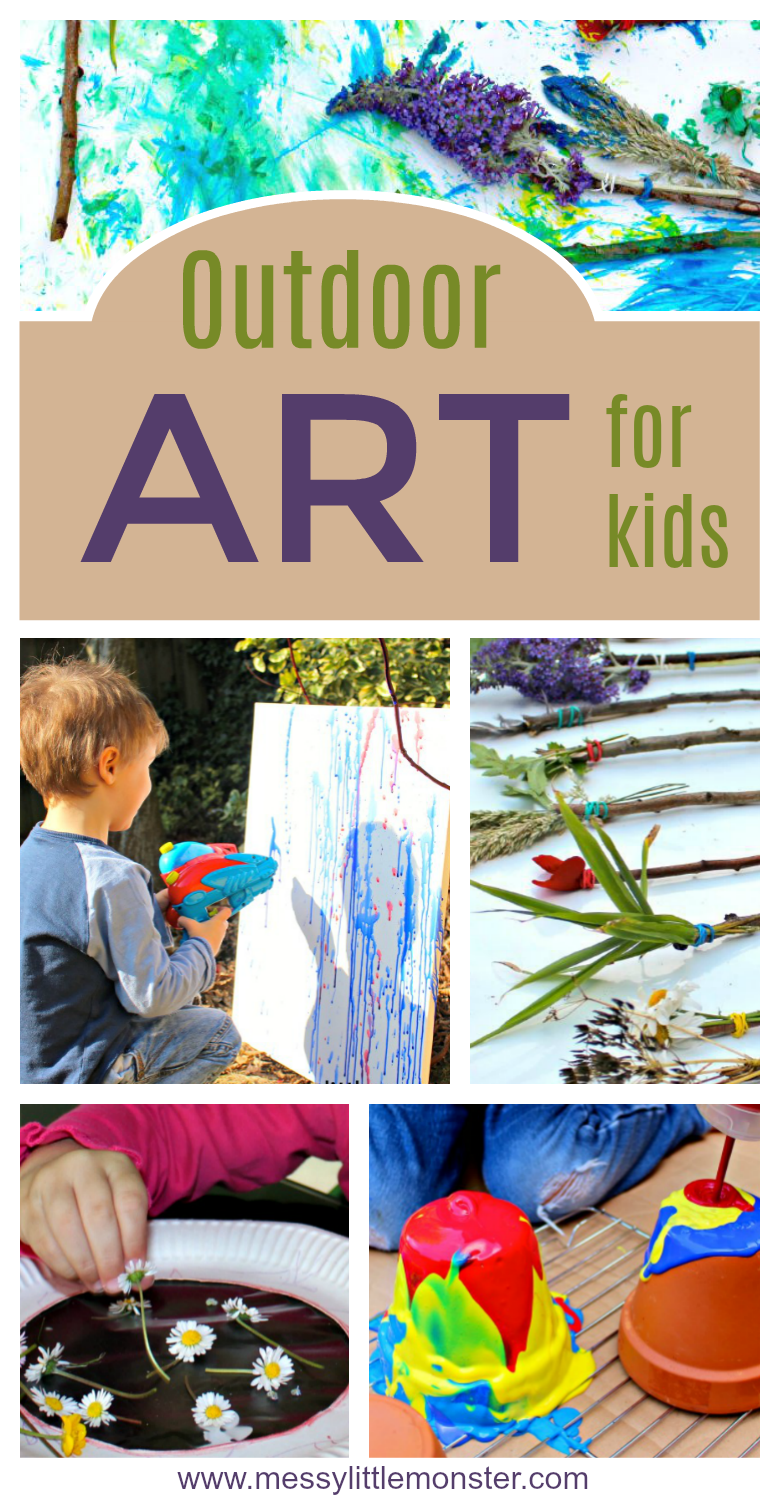 Easy Outdoor Art Ideas for Kids - large scale, messy, nature inspired art activities for toddlers, preschoolers and school aged kids to do outside. Summer, Spring, Autumn and Winter themed ideas.