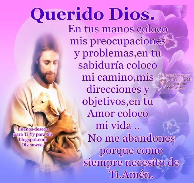 QUERIDO DIOS  En tus manos coloco mis preocupaciones y problemas, en tu sabiduría coloco mi camino, mis direcciones y objetivos... En tu Amor coloco mi vida.