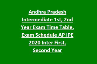 Andhra Pradesh Intermediate 1st, 2nd Year Exam Time Table, Exam Schedule AP IPE 2020 Inter First, Second Year