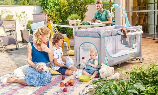 Детска кошара Kinderkraft Joy, 2 нива и аксесоари, Сива/Синя