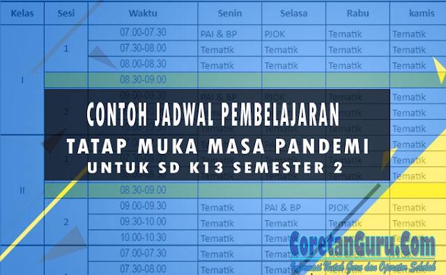 Contoh Jadwal Pelajaran PTM SD K13 Masa Pandemi Covid Semester 2