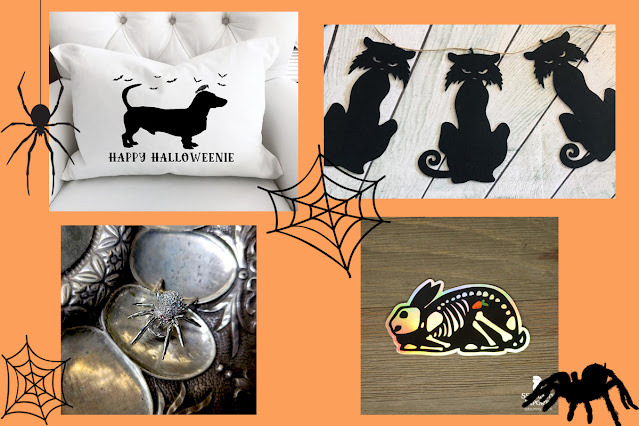 Artisan Halloween decor - Halloweenie throw pillow, spider brooch, X-ray rabbit sticker and cat garland. An artisan Halloween guide