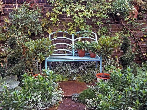 A garden bench sits in front of a brick wall that has been softened with lush plantings blurring the lines to create a soothing country cottage setting.