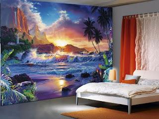 häftig tapet sovrum landskap strand palm hav vågor solnedgång