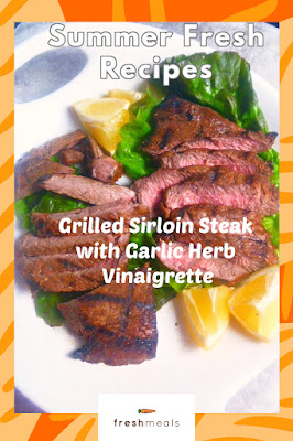 Melt-in-your-mouth, tender grilled sirloin steak, cooked to perfection, and then doused with a garlic herb vinaigrette.  This makes for one amazing summer entree! - Slice of Southern