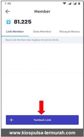 tambahkan link kode referral di aplikasi android kios mobile topup