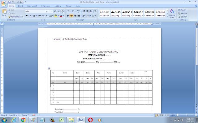 Contoh Format Daftar Hadir Guru di Sekolah
