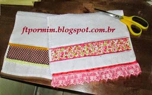 Toalhinhas com detalhes de tecido