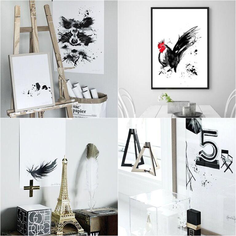 giveaway, tävling, tävlingar, tavla, tavlor, poster, posters, print, prints, konsttryck, tupp, tvättbjörn, panda, chanel, annelies design, inredning, fjäder, svart, svart och vitt, svartvit, svartvita, webbutik, webbutiker, webshop, inredning,
