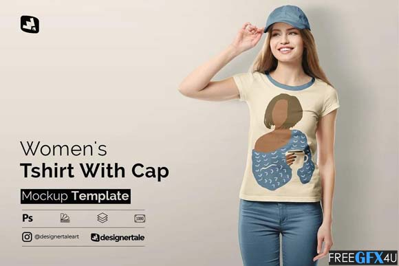 Tshirt & Cap PSD Mockup For Women's