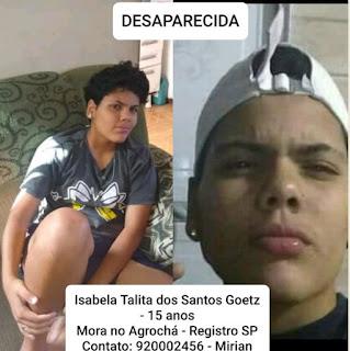 Desaparecida: Isabela Talita dos Santos Goetz em Registro-SP