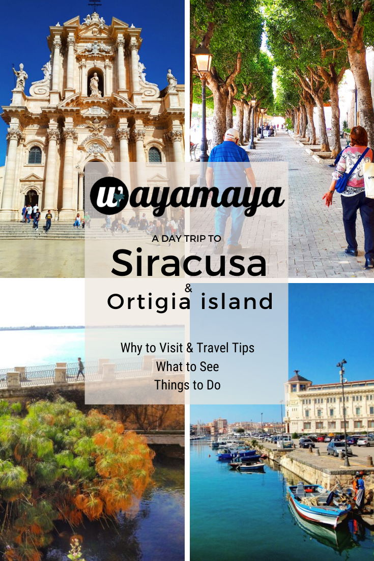 Wayamaya detailed travel guide to Siracusa or Syracuse Sicily Italy & Syracuse island Ortigia. Why visit Siracusa, how to get to Siracusa, what to see in Siracusa (Teatro Greco, Duomo, Latomia), things to do in Siracusa (beaches, restaurants), things to see in Ortygia (cathedral, Fountain of Arethusa, Ear of Dionysius) #italy #italia #sicily #sicilia #traveltips #agrigento #travelphotography #traveldestinations #wayamaya