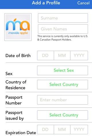Aplicación de Mobile Passport, datos personales