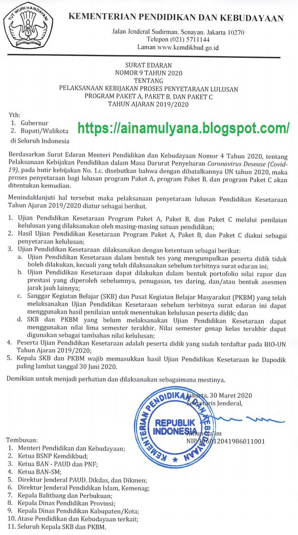 Surat Edaran (SE) Kemendikbud Nomor 9 Tahun 2020