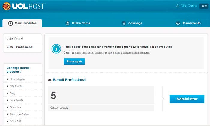 criar uma loja virtual uol host