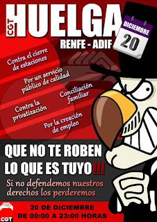 huelga 20 diciembre ADIF-RENFE