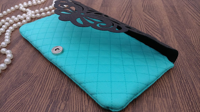 Quilted cell phone clutch with Kraft-Tex