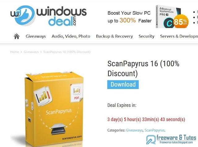 Offre promotionnelle : ScanPapyrus gratuit !