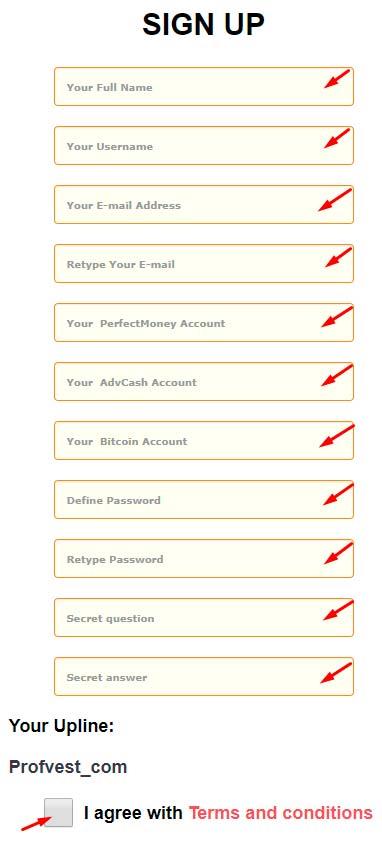 Регистрация в Profitmore 1