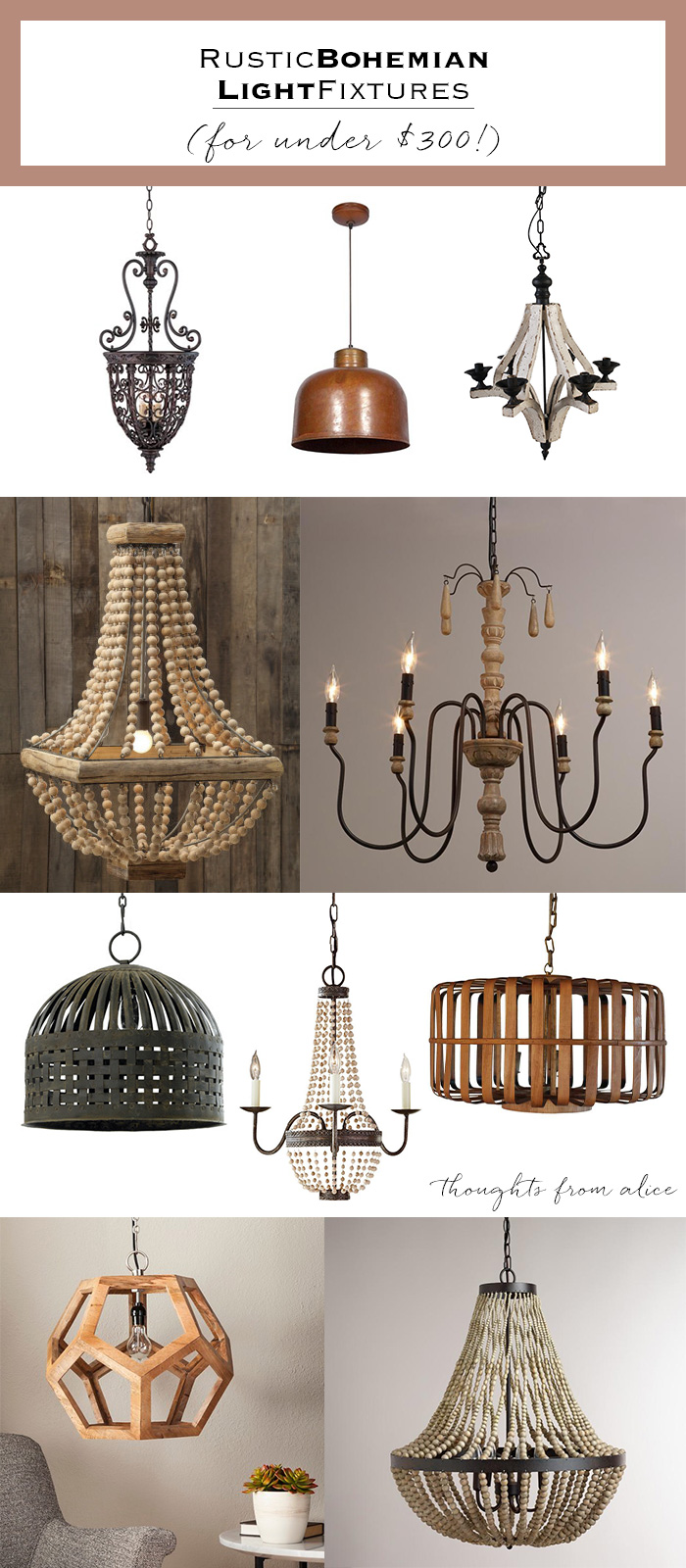 Rustic Bohemian Light Fixtures